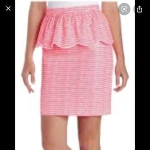 Lilly Pulitzer fluorescent gingham neon pink skirt